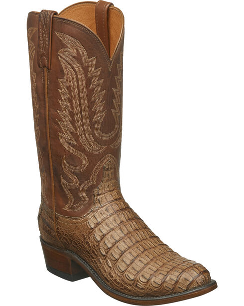 Lucchese Men's Handmade Walter Hornback Caiman Western Boots - Round Toe, Tan, hi-res
