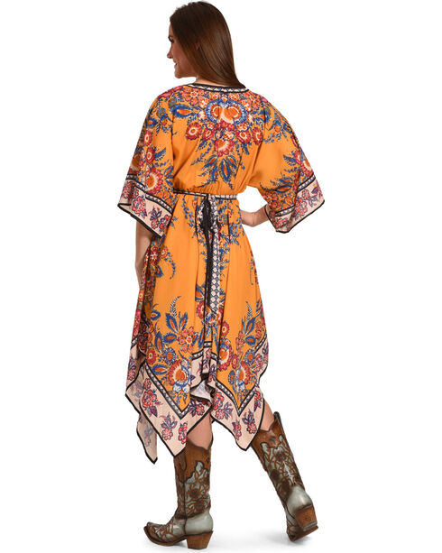 Flying Tomato Women's 3/4 Dolman Sleeve Printed Dress, Dark Yellow, hi-res