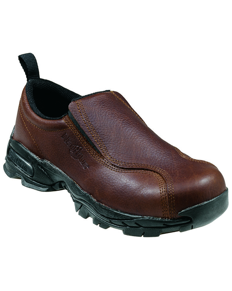Nautilus Men's Static Dissipative Slip-On Work Shoes - Steel Toe, Brown, hi-res