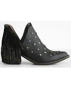 Circle G Women's Black Studs & Fringe Fashion Booties - Pointed Toe, Black, hi-res