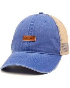 Ariat Men's Blue Leather Logo Patch Mesh-Back Dad Cap , Blue, hi-res