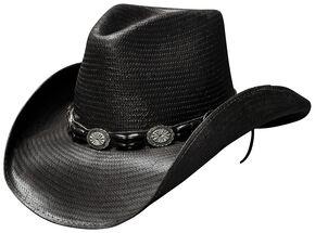 Bullhide Black Hills Shantung Panama Straw Cowboy Hat, Black, hi-res