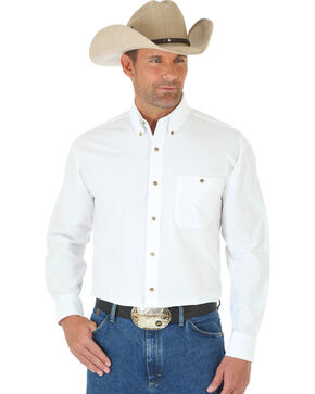 George Strait by Wrangler Men's White Long Sleeve Shirt - Tall, White, hi-res