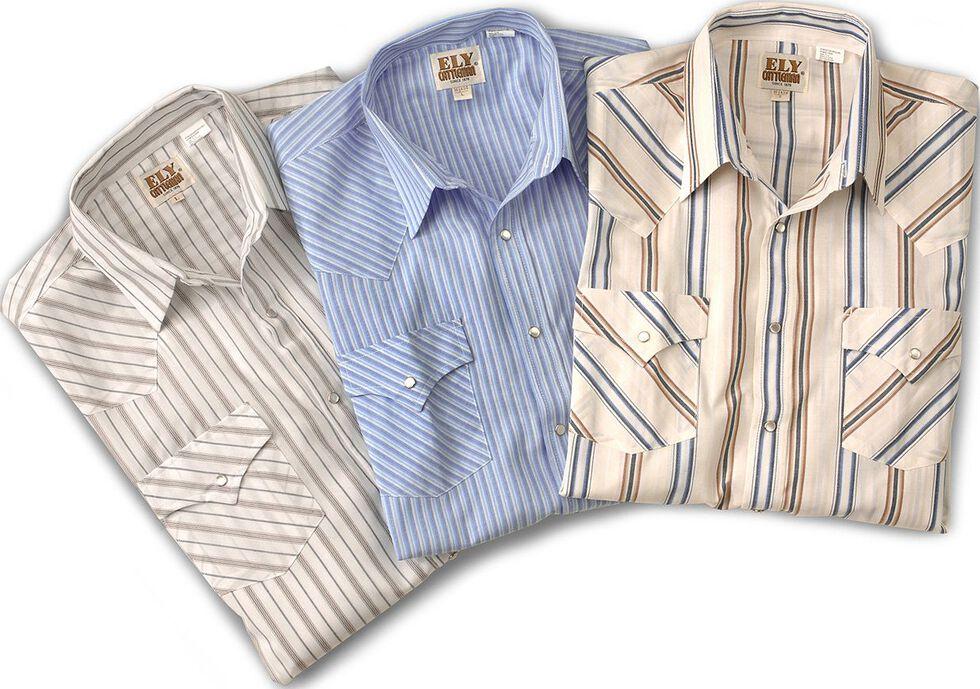 Ely Cattleman Men's Assorted Plaid & Stripe Long Sleeve Western Shirts - Big & Tall, Stripe, hi-res