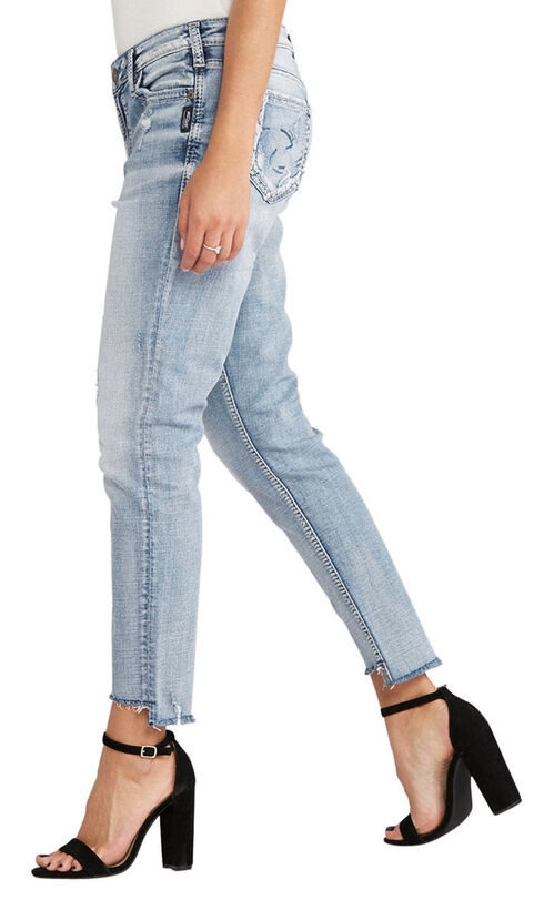Silver Women's Light Indigo Loose Boyfriend Jeans - Plus Size, Indigo, hi-res