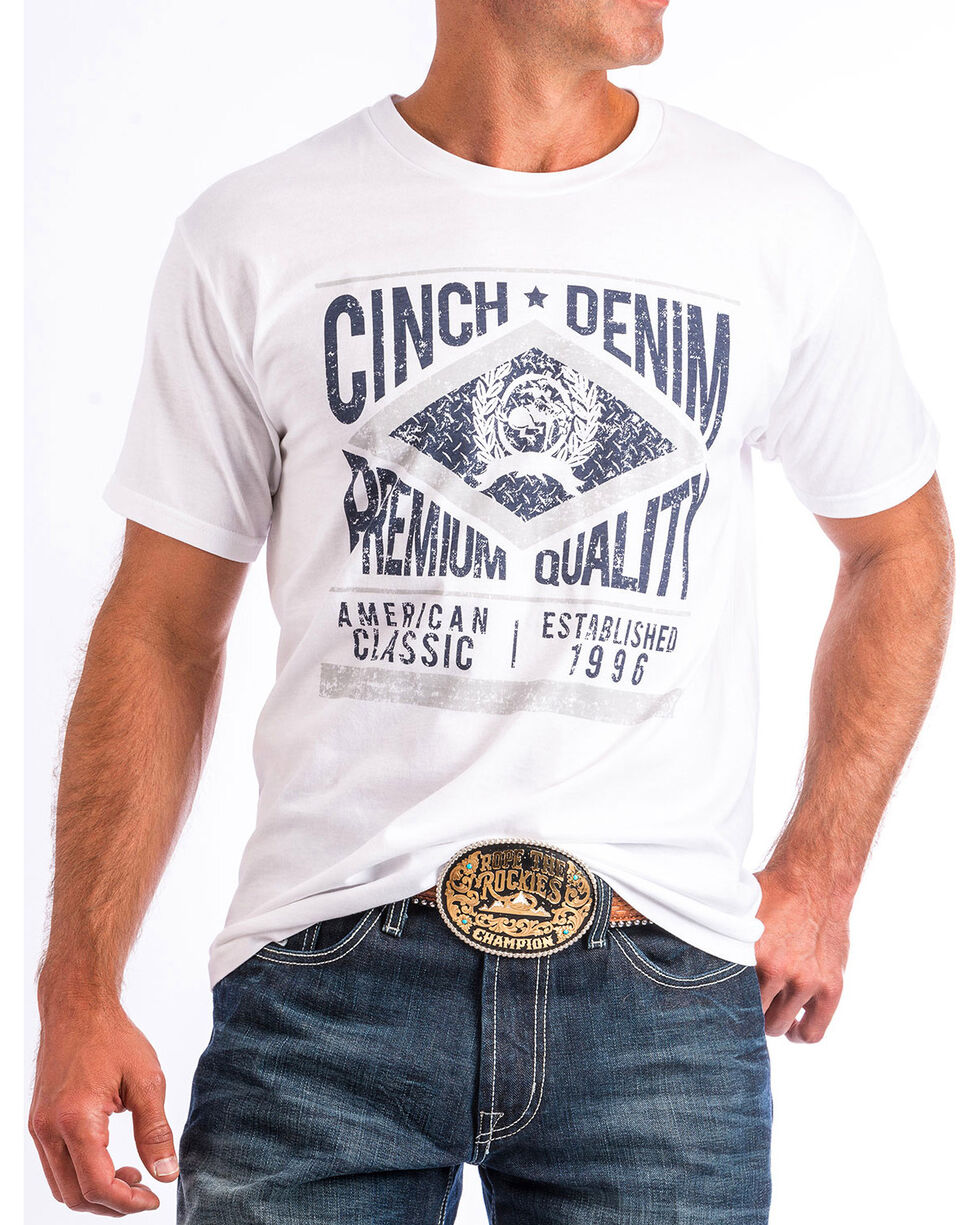 Cinch Men's White Graphic Tee, White, hi-res