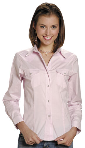 Roper Women's Stretch Poplin Shirt, Pink, hi-res