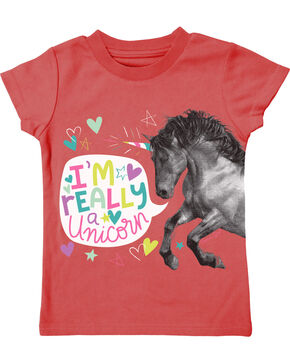 Farm Girl Toddler Girls' I'm Really A Unicorn Tee, Coral, hi-res
