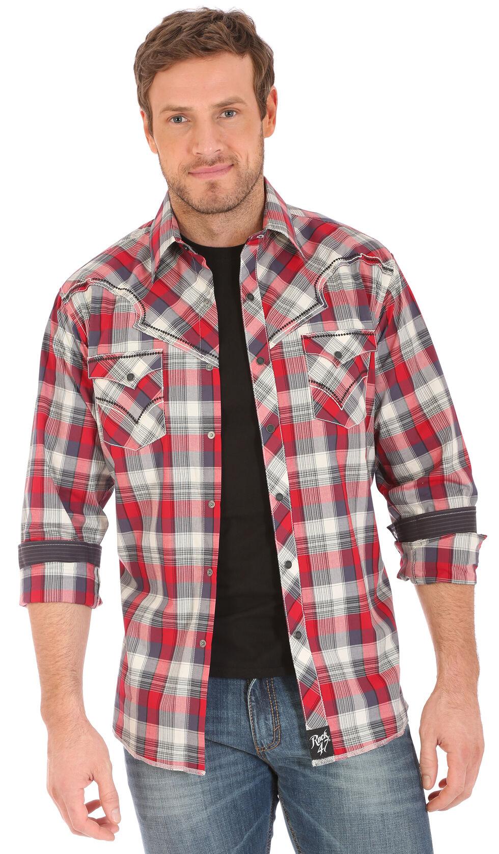 Wrangler Rock 47 Men's Plaid Two Pocket Long Sleeve Snap Shirt, Red, hi-res