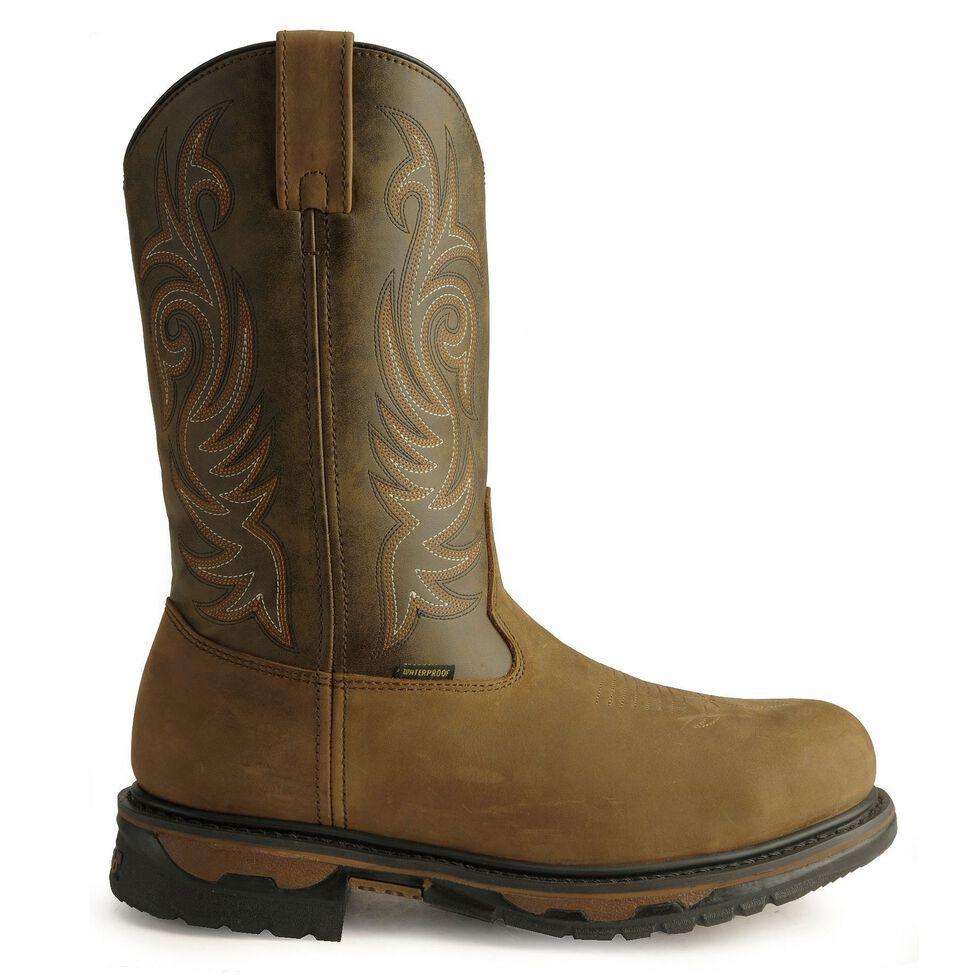 Laredo Waterproof H2O Western Work Boots - Steel Toe, Tan Distressed, hi-res
