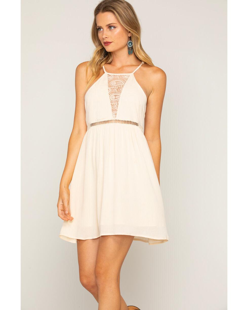 Shyanne Women's Paisley Lace Sleeveless Dress, Ivory, hi-res