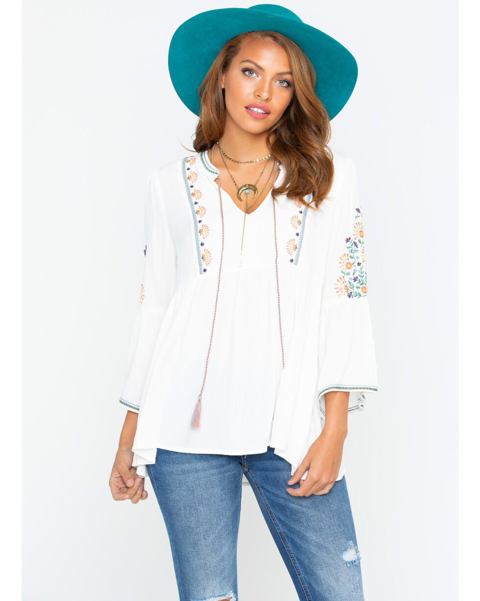 Miss Me Women's White Spring Days Peasant Top , White, hi-res