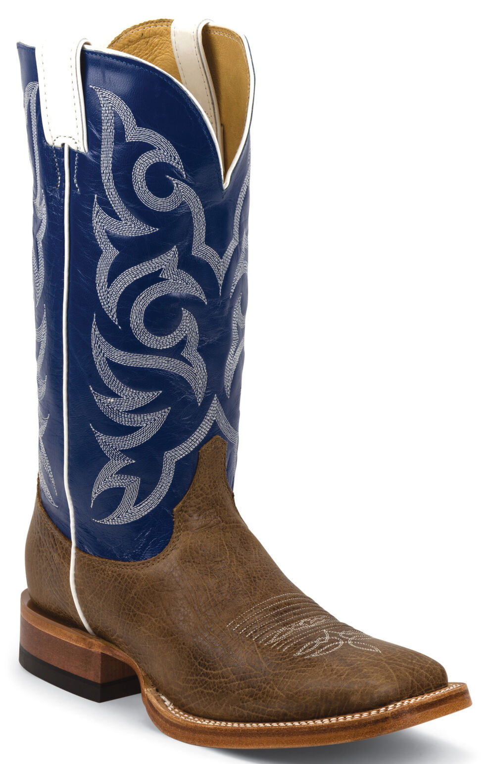 Justin Men's Brown Delta Cowhide Cowboy Boots - Square Toe, Brown, hi-res