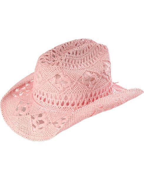 Bullhide Kids' April Straw Cowboy Hat, Pink, hi-res