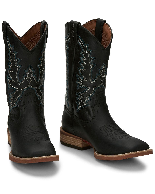 Justin Men\u0027s Tallyman Black Western Boots , Wide Square Toe