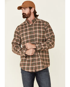 Wrangler Rugged Wear Men's Khaki Blue Ridge Long Sleeve Western Flannel Shirt - Big & Tall, Beige/khaki, hi-res