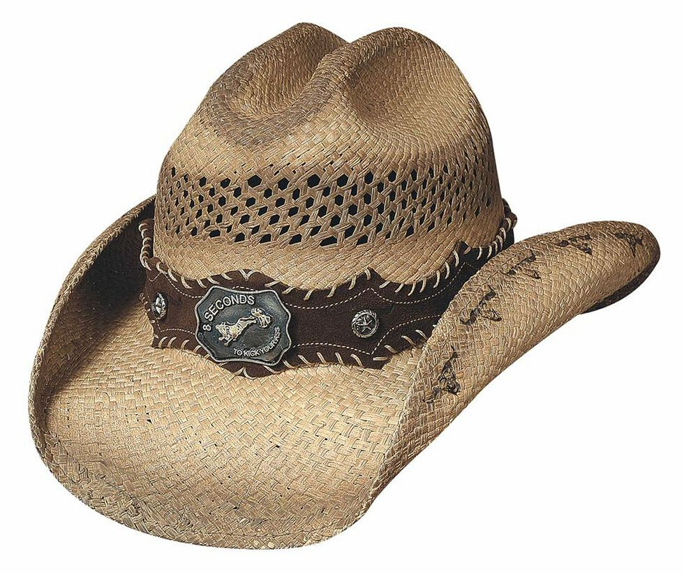 Bullhide Ride 'Em Panama Straw Cowboy Hat, Natural, hi-res