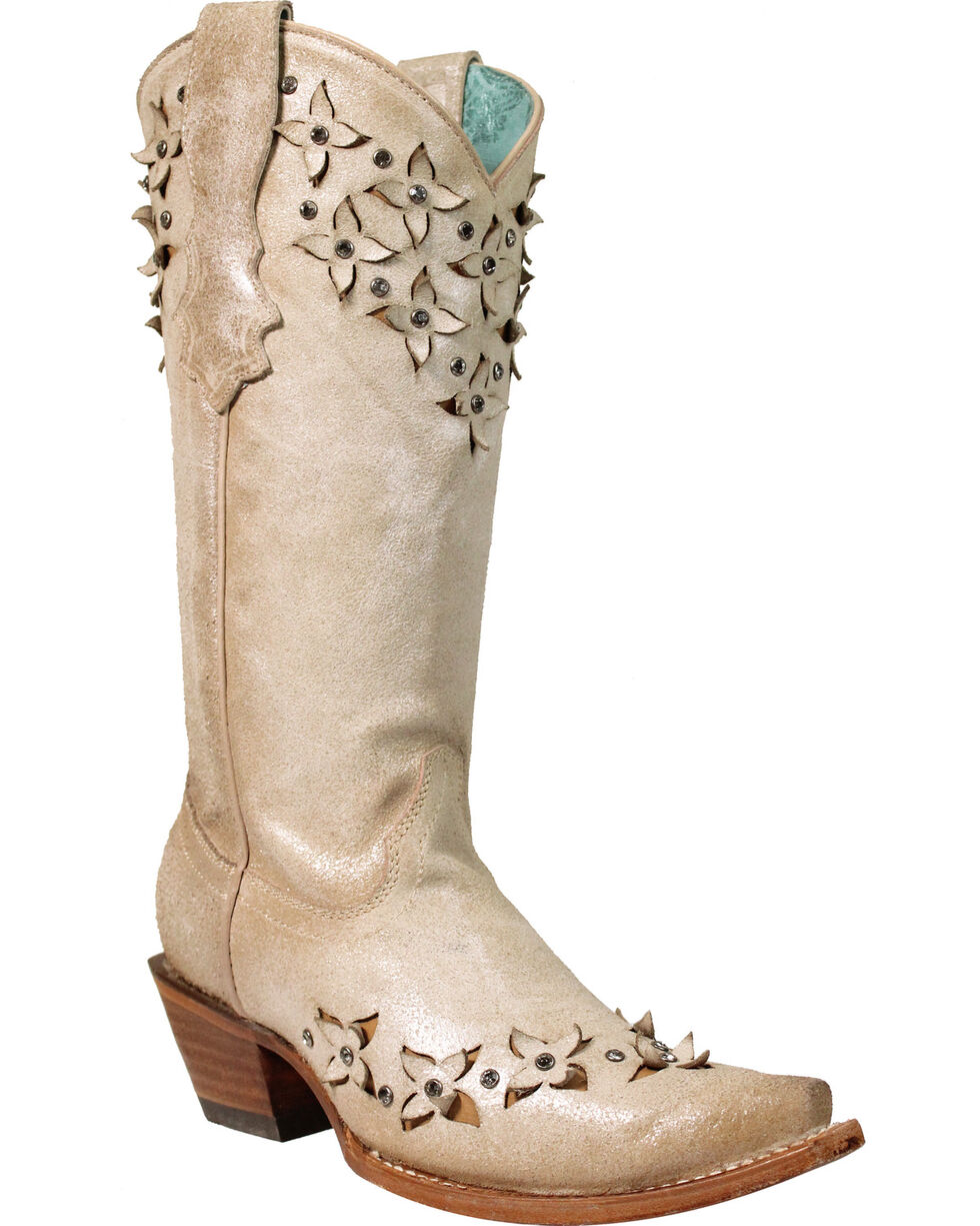 Corral Women's Crystals and Flower Cut Out Boots - Snip Toe, Ivory, hi-res