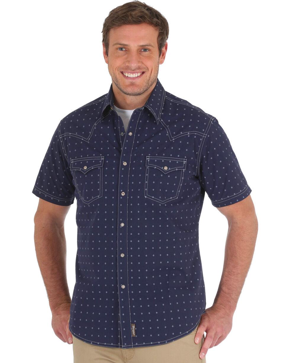 Wrangler Men's Navy Retro Spotted Western Shirt - Tall , Navy, hi-res