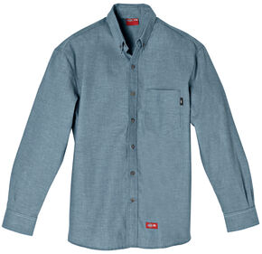 Dickies Flame Resistant Chambray Work Shirt, Blue, hi-res