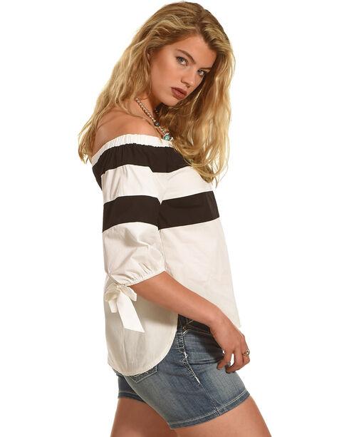 Polagram Women's Off The Shoulder Striped Top , White, hi-res