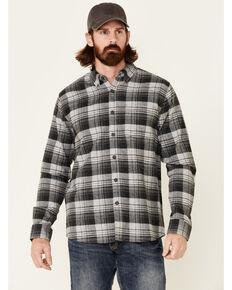 North River Men's Dark Grey Large Plaid Long Sleeve Button-Down Western Flannel Shirt , Dark Grey, hi-res