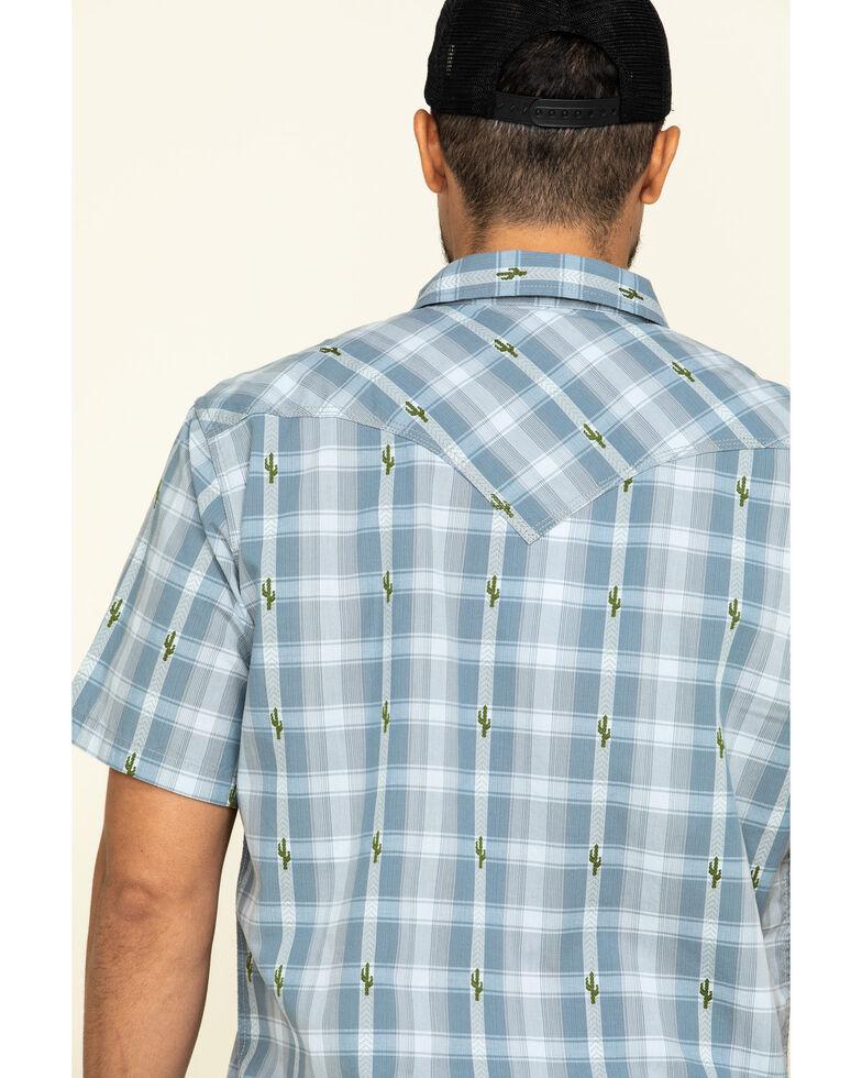 Moonshine Spirit Men's Cooler Cactus Plaid Short Sleeve Western Shirt , Blue, hi-res