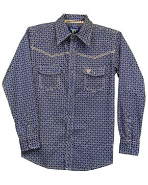 Cowboy Hardware Toddler Boys' Diamond Geo Print Long Sleeve Western Shirt , Navy, hi-res
