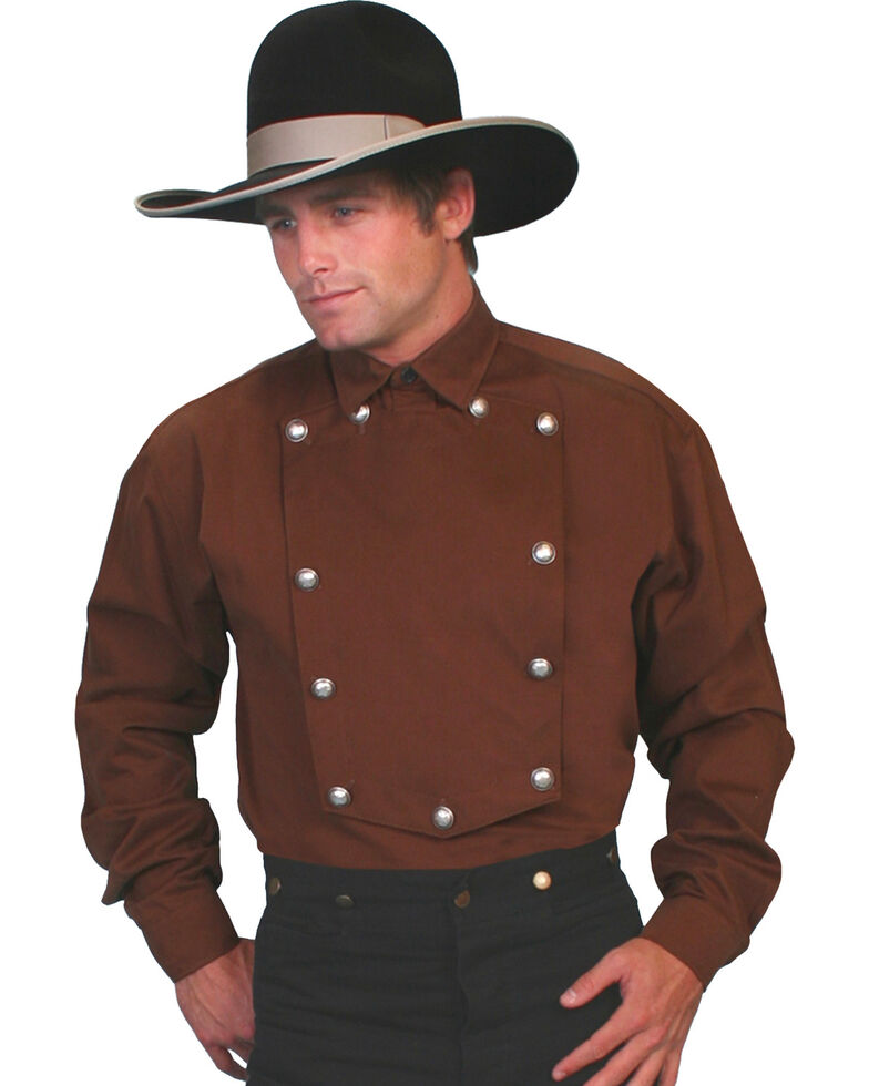 WahMaker Old West by Scully Brushed Twill Bib Shirt - Big & Tall, Brown, hi-res