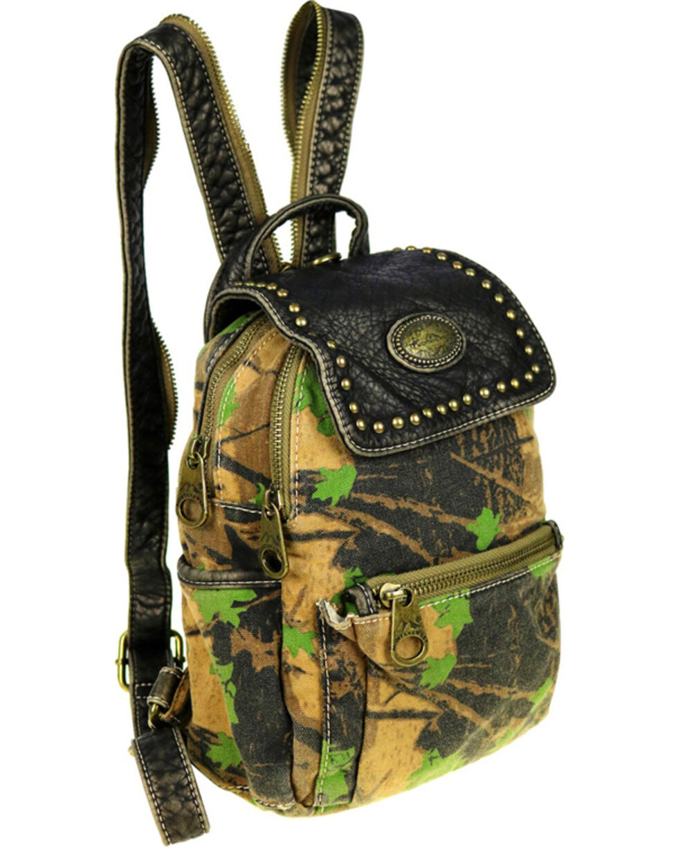 Montana West Camo Stone Washed Canvas Mini Backpack, Green, hi-res