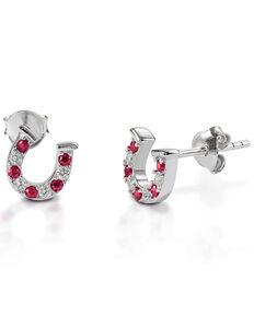 Kelly Herd Women's Red & Clear Horseshoe Earrings , Silver, hi-res