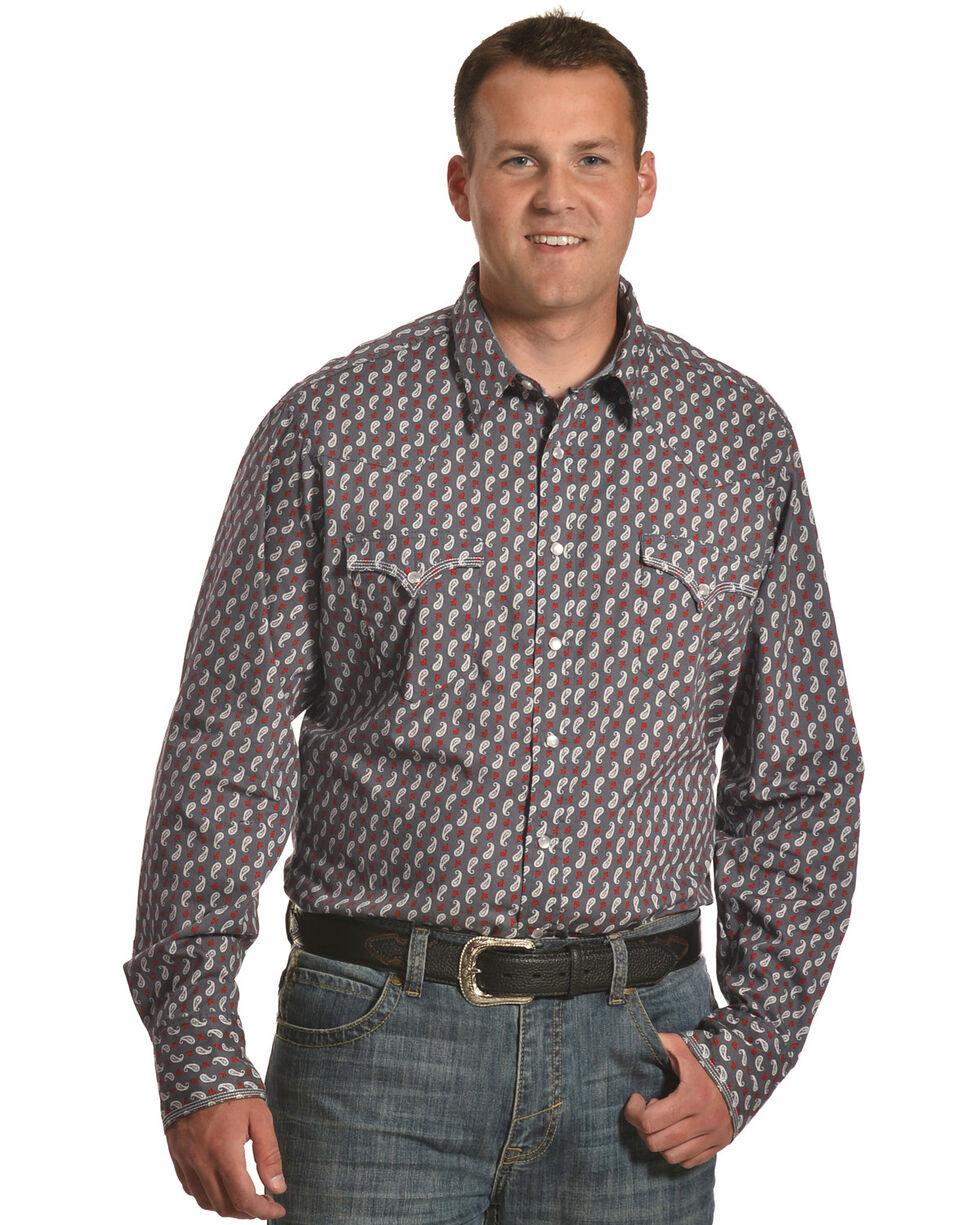 Roper Men's Paisley Long Sleeve Western Snap Shirt, Grey, hi-res