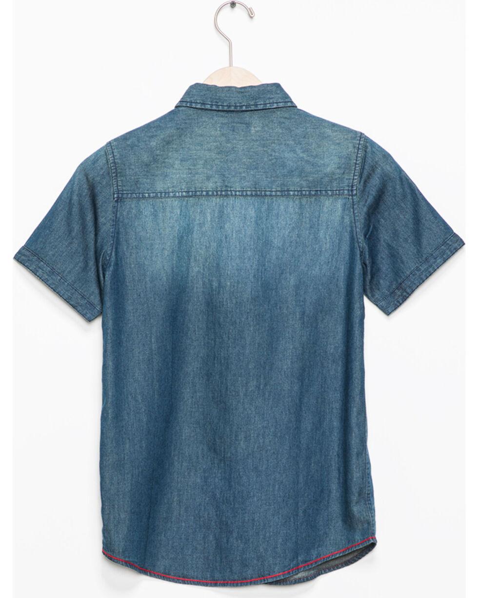 Silver Boys' Denim Short Sleeve Button Down Shirt, Indigo, hi-res