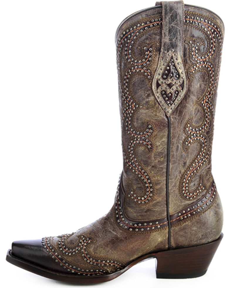 Corral Distressed Studded Overlay Cowgirl Boots - Snip Toe, Brown, hi-res