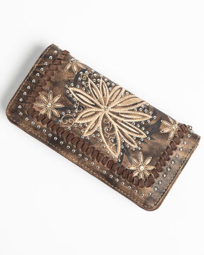 Shyanne Women's Floral Embroidered wallet, Coffee, hi-res