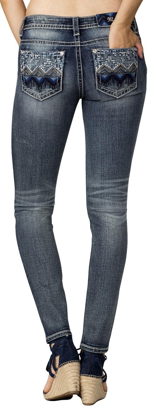 Miss Me Women's Indigo Aztec Embellished Mid-Rise Jeans - Skinny, Indigo, hi-res