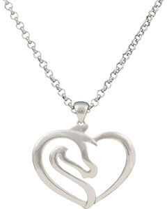 Montana Silversmiths Equestrian Heart Necklace, Silver, hi-res