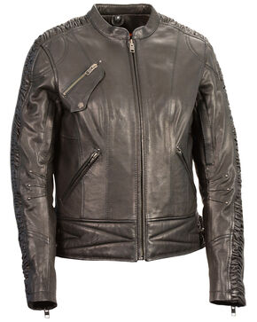 Milwaukee Leather Women's Crinkle Arm Lightweight Racer Jacket, Black, hi-res