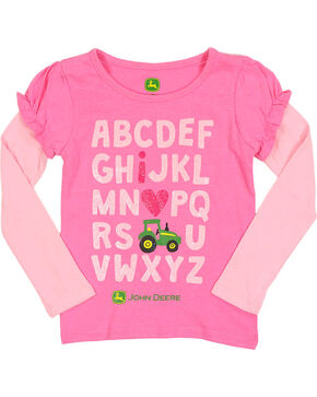 John Deere Toddler Girls' I Love Tractors Long Sleeve T-Shirt, Pink, hi-res