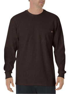 Dickies Men's Heavy Weight Crew Long Sleeve Tee - Big & Tall, Chocolate, hi-res