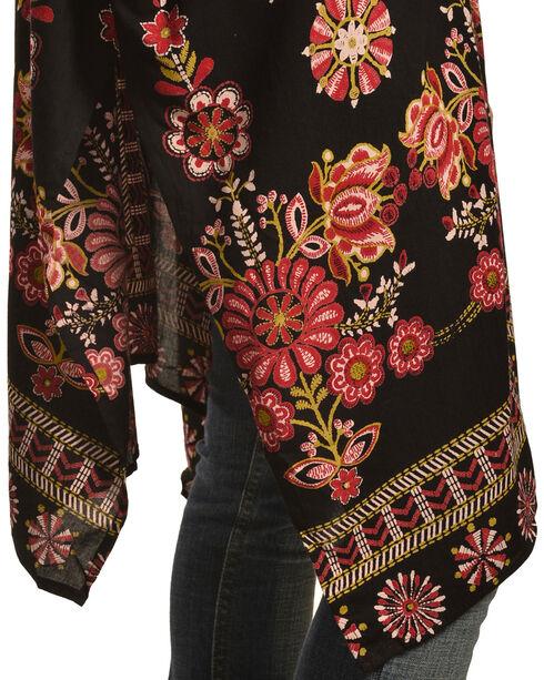 Nostalgia Women's Floral Border Printed Kimono, Black, hi-res