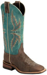 "Justin Bent Rail Women's 13"" Uvalde Chocolate Cowgirl Boots - Square Toe, Chocolate, hi-res"