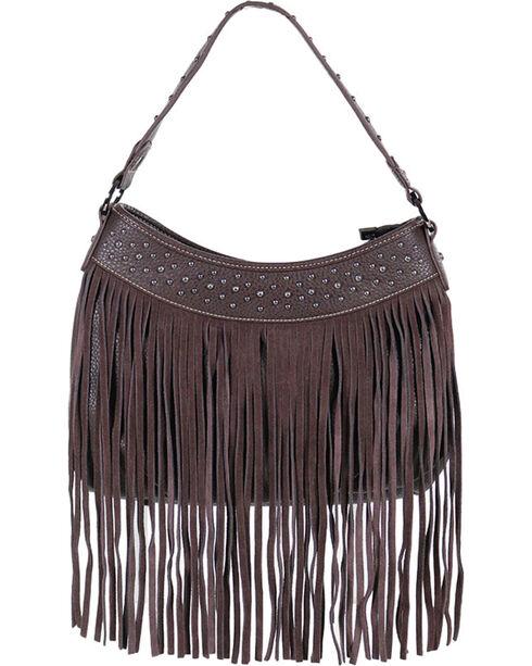 Trinity Ranch Women's Suede Fringe Handbag, Taupe, hi-res
