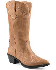 Roper Women's Faux Leather Western Boots - Round Toe, Tan, hi-res