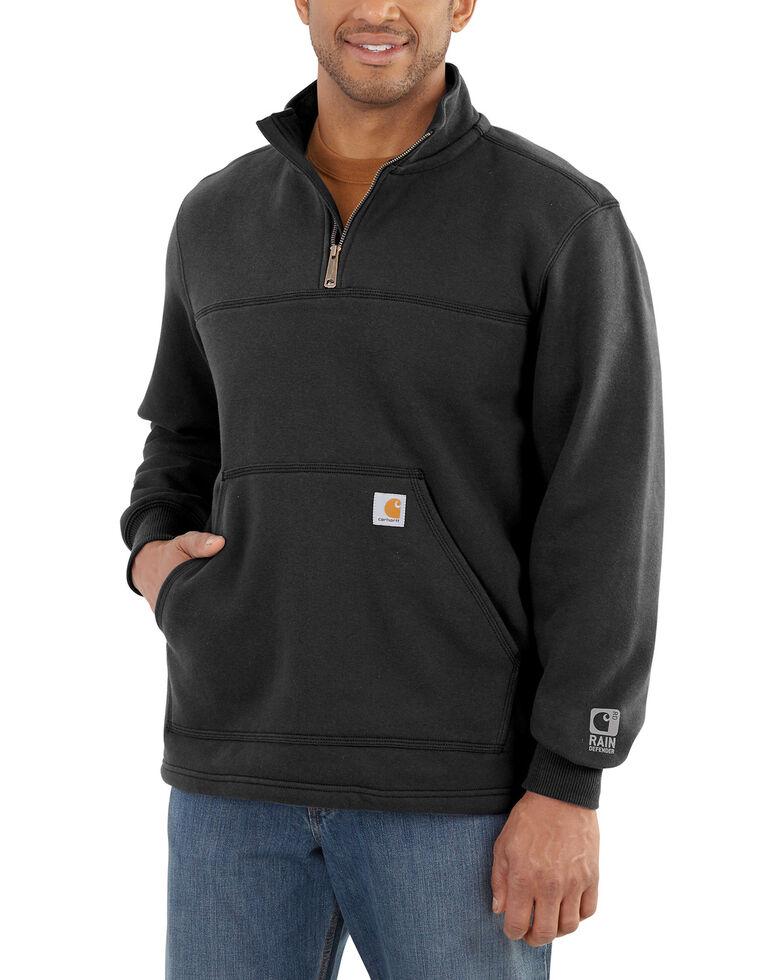 Carhartt Men's Rain Defender Paxton Quarter Zip Pullover Sweatshirt, Black, hi-res