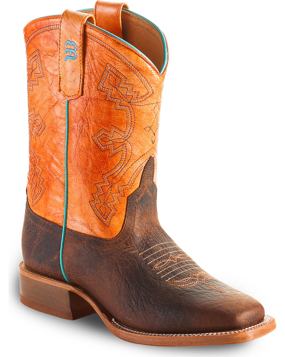 Anderson Bean Toddler Tangerine Marfalous Western Boots - Square Toe, Brown, hi-res