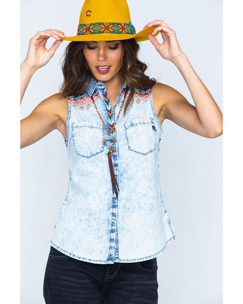 Miss Me Decorated Yoke Sleeveless Western Top, Denim, hi-res