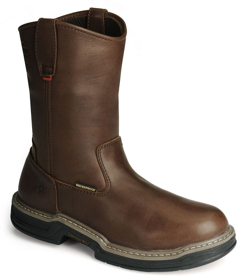 Wolverine Men's MultiShox Buccaneer Waterproof Wellington Work Boots - Round Toe, Dark Brown, hi-res