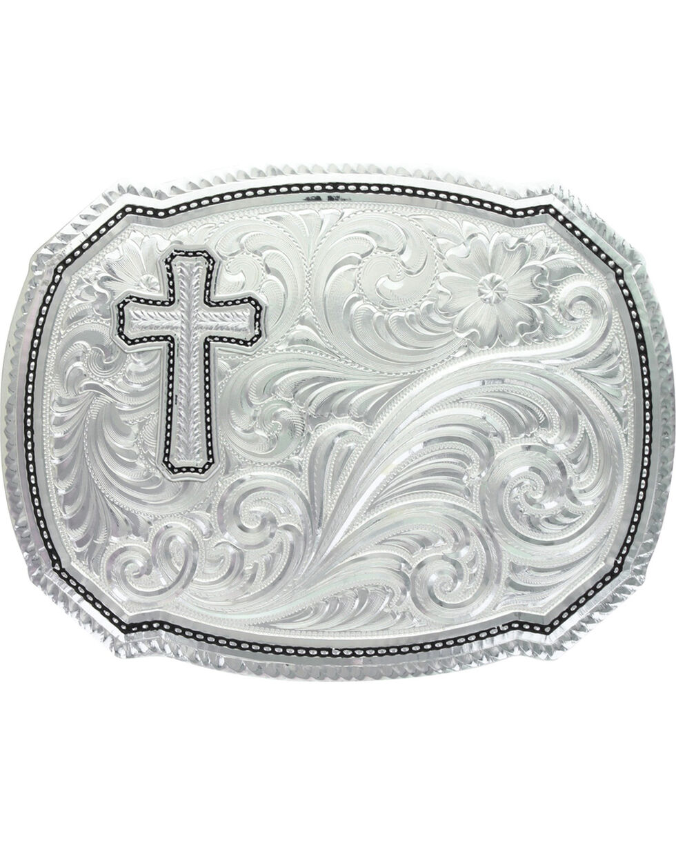 Montana Silversmiths Silver Wheat Cross Rope Buckle , Silver, hi-res