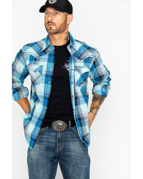 Wrangler Rock 47 Men's Large Plaid Shirt , Blue, hi-res